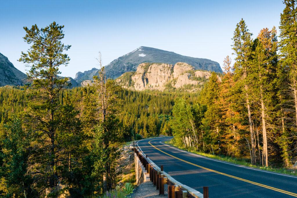 Road to Bear Lake at Rocky Mountains National Park, Colorado.