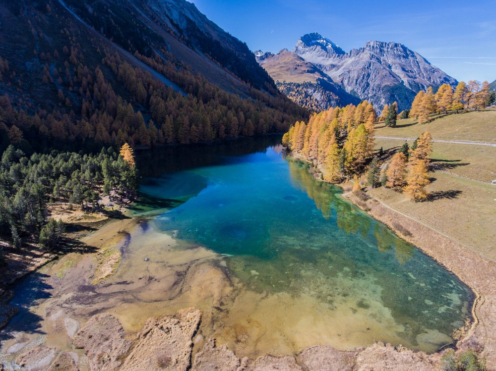 blue mountain lake in swiss national park