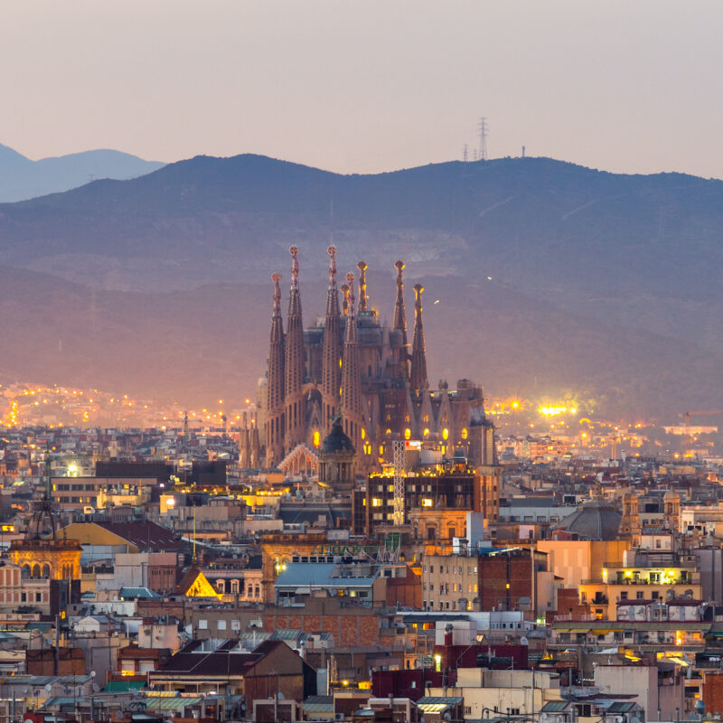 Barcelona, Spain, in the evening.