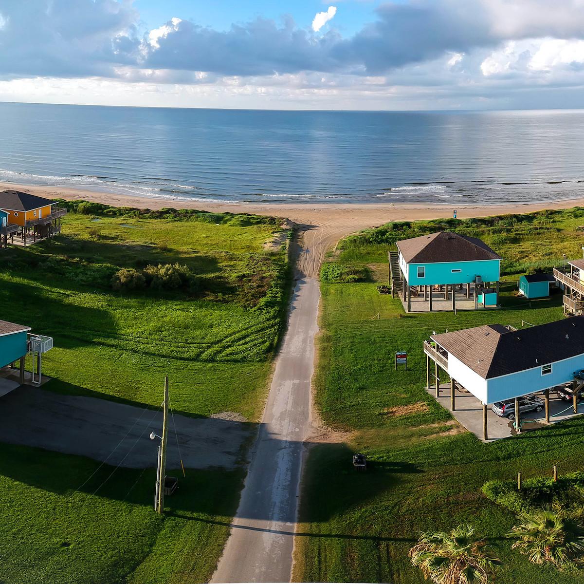 Beach houses in the Bolivar Peninsula.