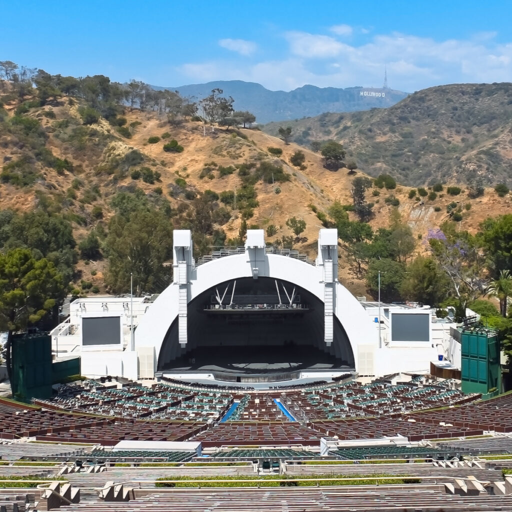 The Hollywood bowl amphitheater.