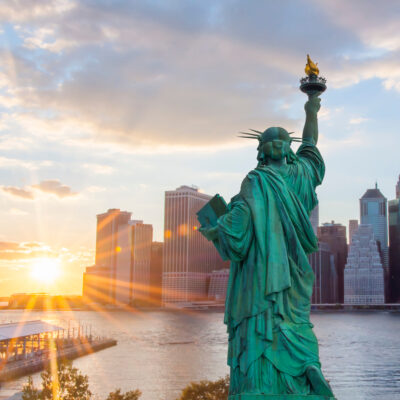 Statue of Liberty viewing sun.