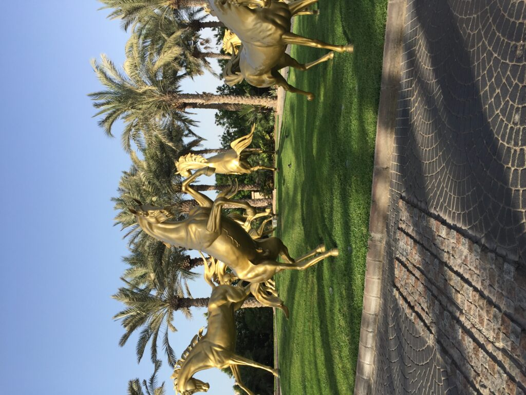 The Golden Horses in Dubai.