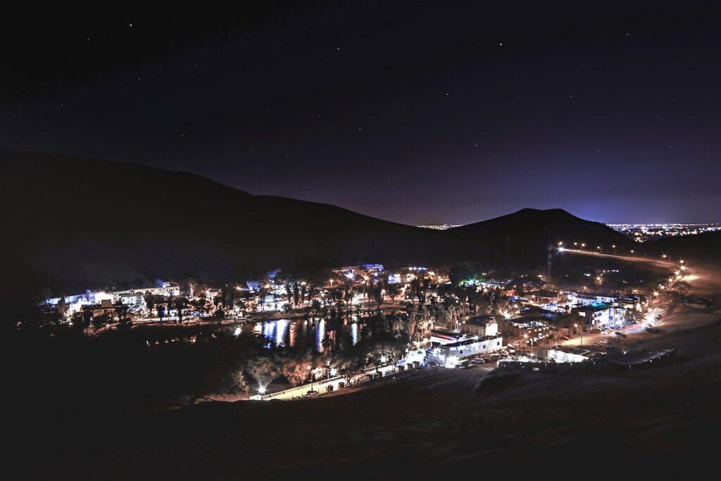 Huacachina Oasis in Peru at night.