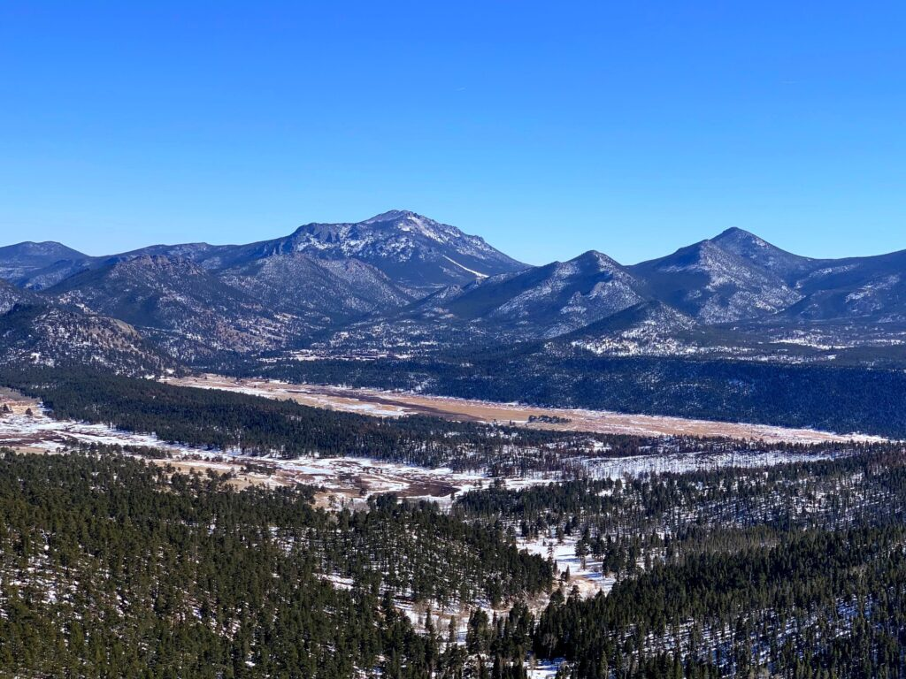view of Rocky Mountain National Park from Many Parks Curve