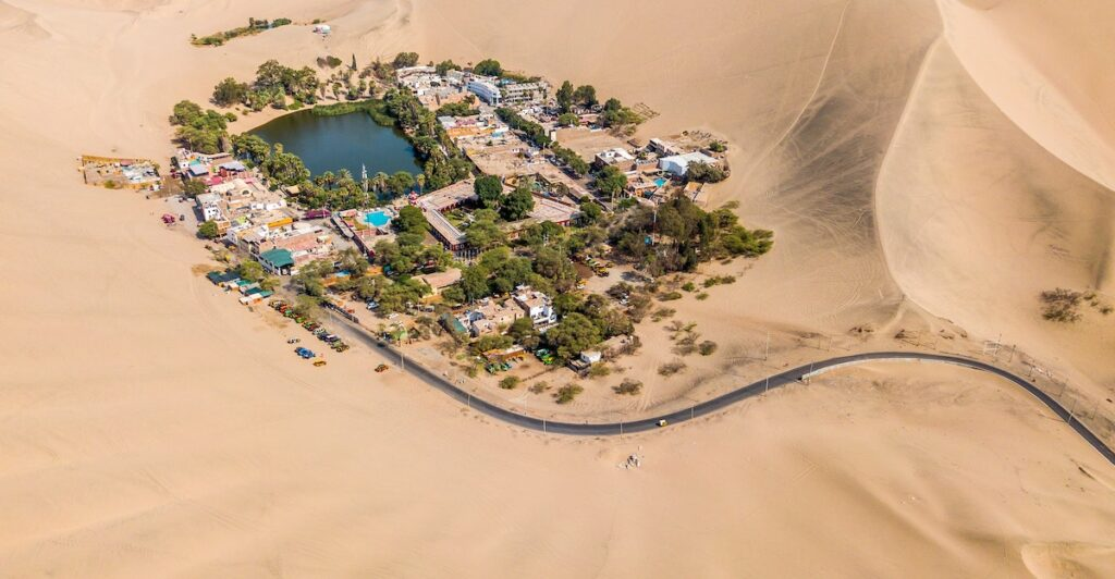 Huacachina Oasis in Peru from above.