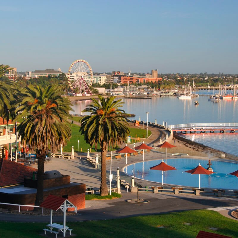 Geelong Waterfront, Eastern Beach, Geelong, Victoria, Australia.