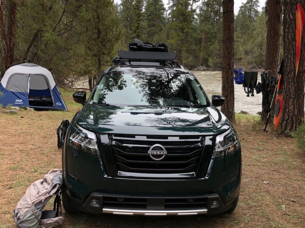 Nissan car camping in Montana.