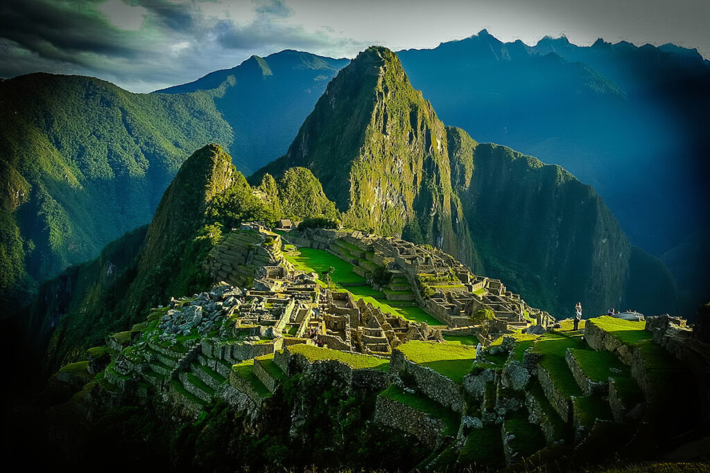 Arial view of Machu Picchu.