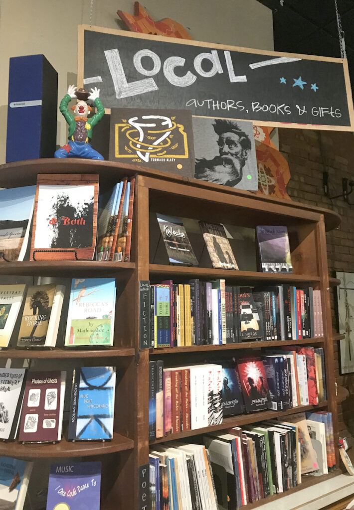 Bookshelves at Ad Astra Books in Salina.