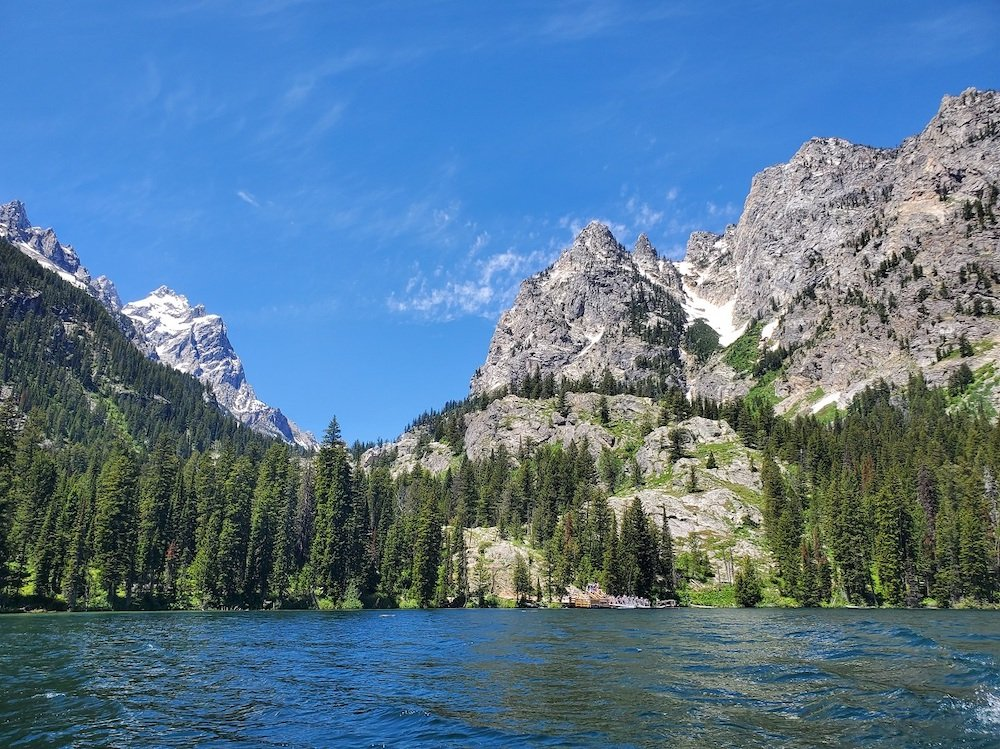 A view of Jenny Lake and the Teton Mountains from the Jenny Lake shuttle boat