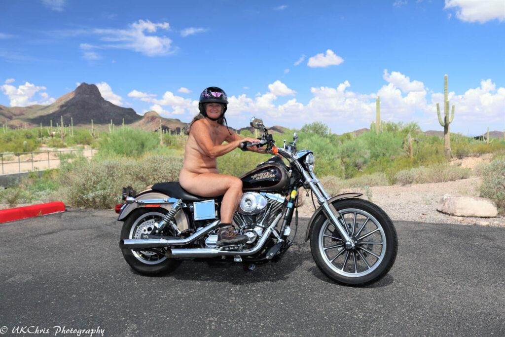 Motorcyclist, National Nude Recreation Week.