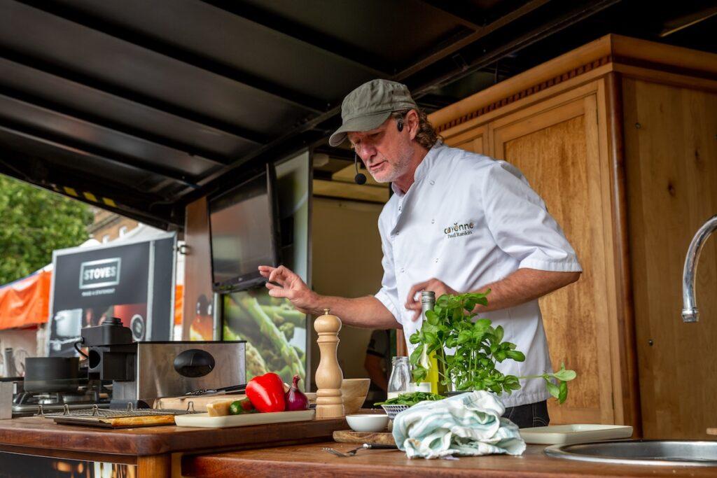 Celebrity chef demonstration at Bury St Edmunds Food Festival.
