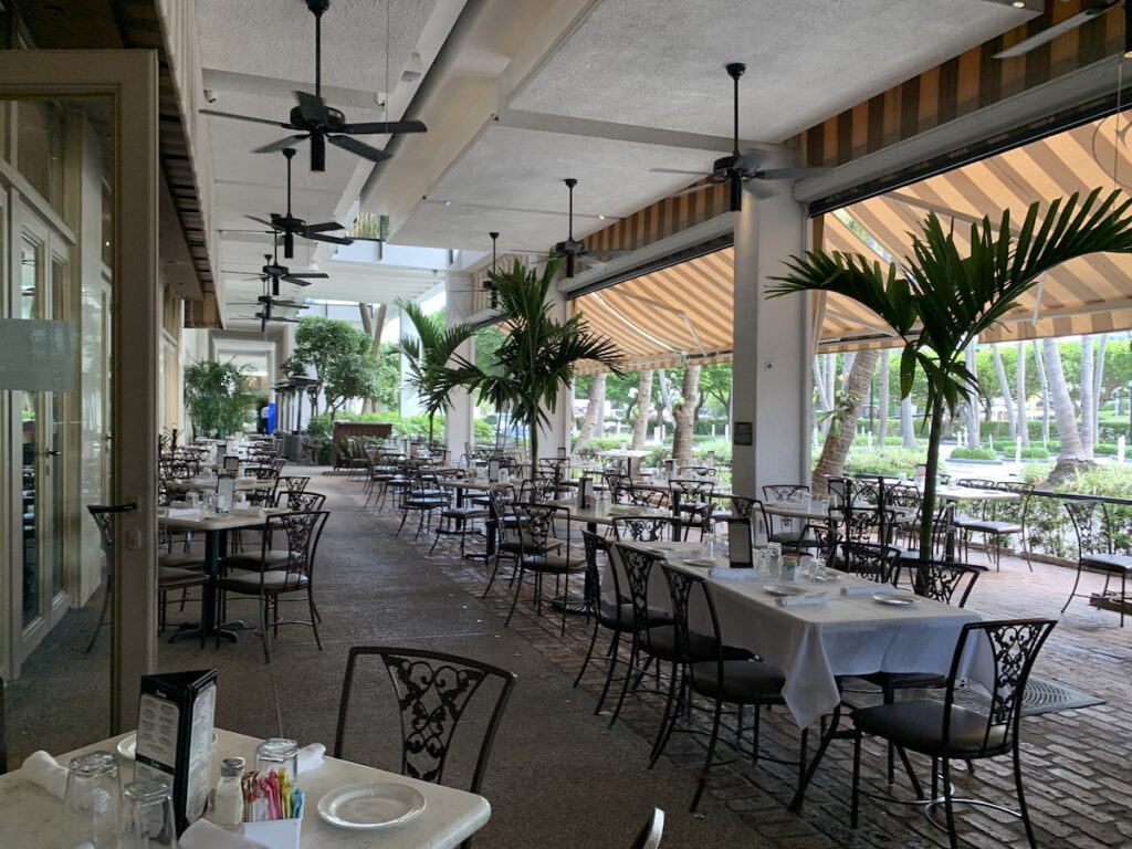 Outdoor seating at Carpaccio.