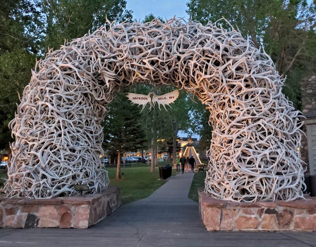 Elk Antler Arch in Jackson, Wyoming