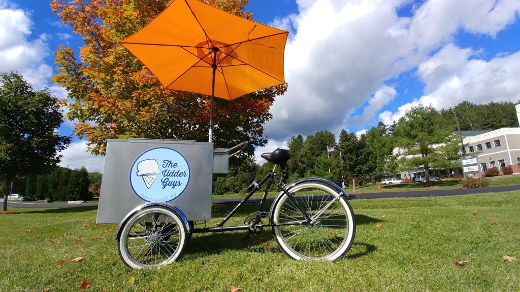 The Udder Guys seasonal ice cream tricycle in Waterbury, Vermont