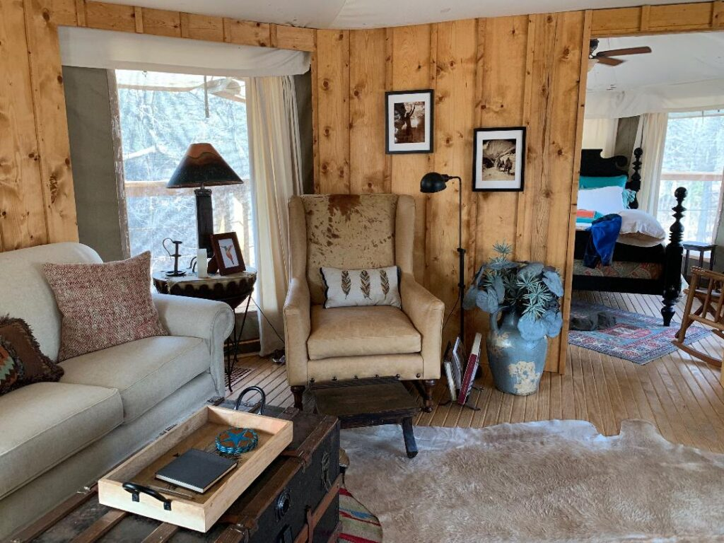 Indoor glamping tent at Fuller's Folly River Ranch (Sundancer on the Brazos)