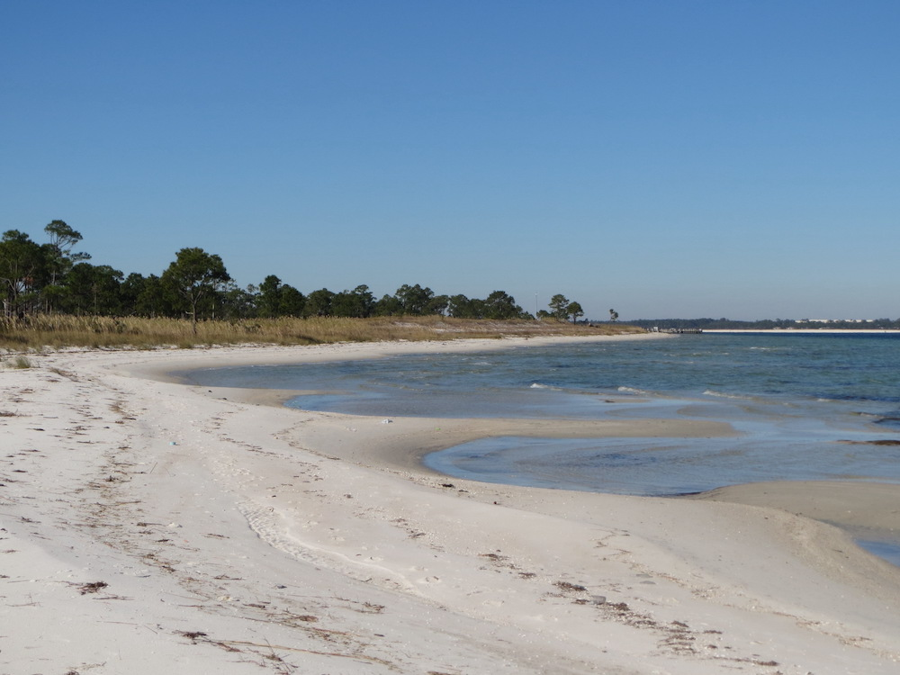 A side trail off the Fort Pickens Trail leads to a nice beach walk along Pensacola Bay.
