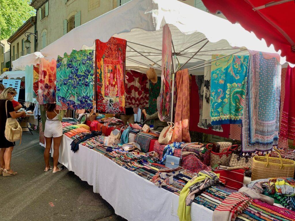 Crafts at Lourmarin market in France.