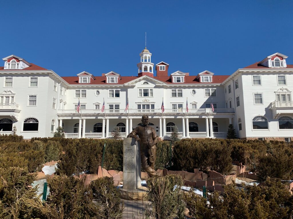 The front of the Stanley Hotel outside of Rocky Mountain National Park