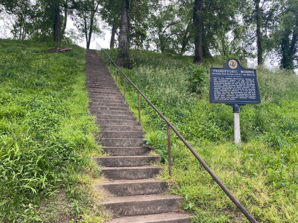 The Indian Mound and Museum rises 43 feet high, and known to be the the largest trove in Alabama.