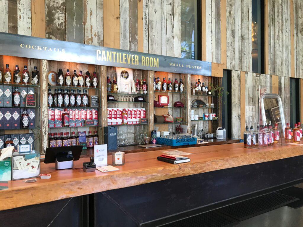 The bar at Westland Distillery.