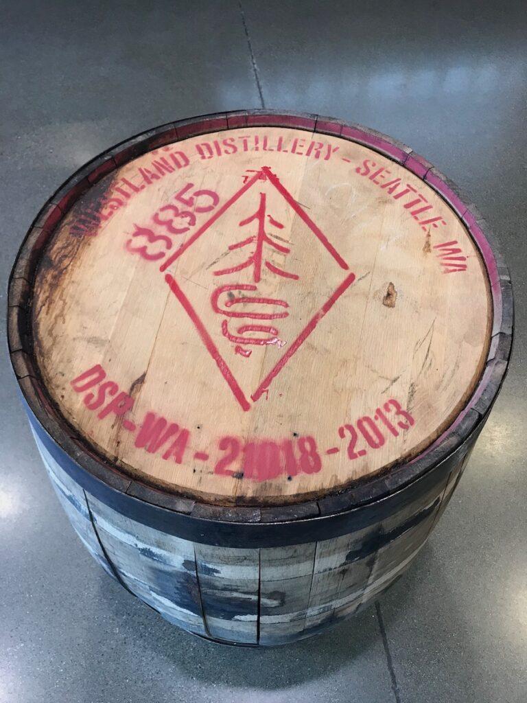 A barrel at Westland Distillery.