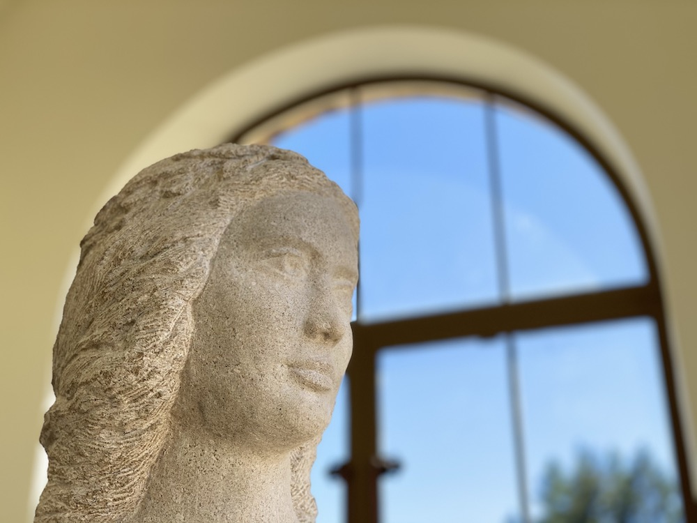 Detail of a statue in the Gallery of Fine Arts at The Lodge at St. Edward State Park