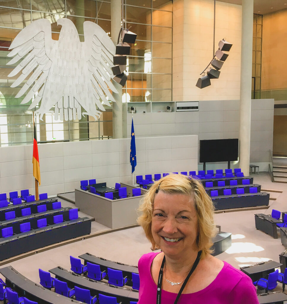 The writer inside the Reichstag.