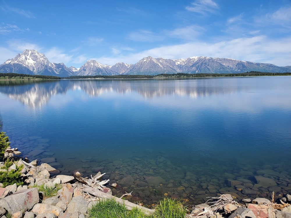 Jackson Lake with the Teton Mountains in the background.