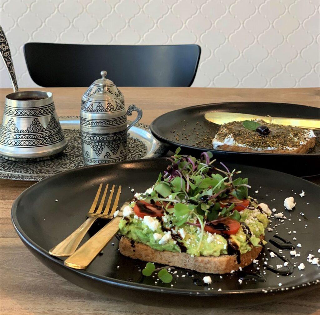 Turkish coffee and avocado toast, Pax & Beneficia Coffee.