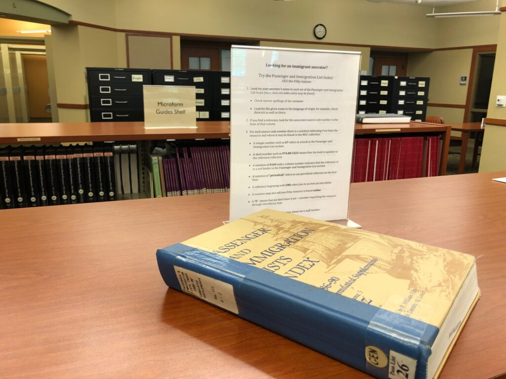 book and information in library at Midwest Genealogy Center in Independence, MO