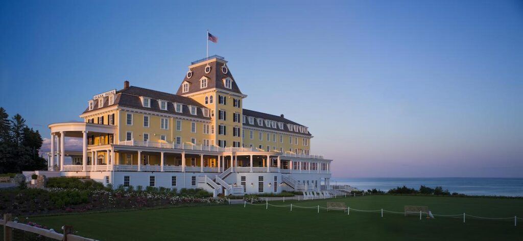 Rhode Island's Ocean House boutique hotel at sunset.