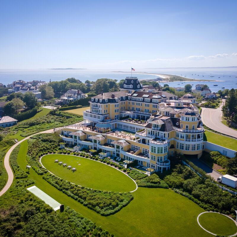 Aerial view of Ocean House hotel, Rhode Island.
