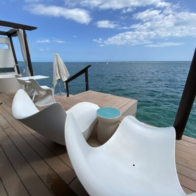 Over-the-water bungalow private deck with ocean views for miles.