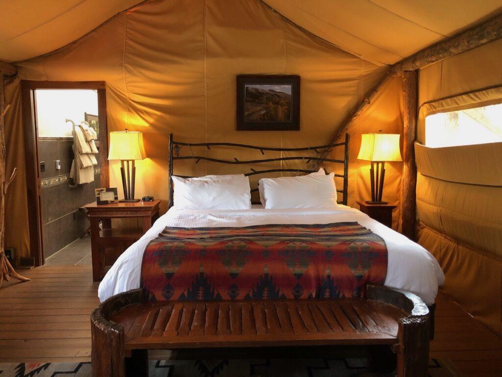 Glamping tents at Resort at Paws Up in Montana.