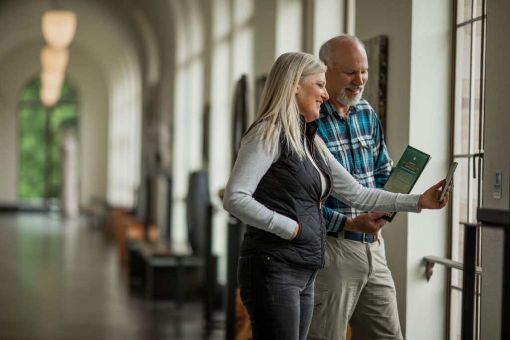 Guests learn more about the history of The Lodge at St. Edward State Park by taking a self guided QR code tour.
