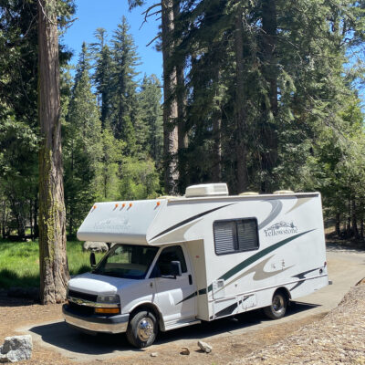 RVshare rental parked at Azalea Campground in Kings Canyon National Park.