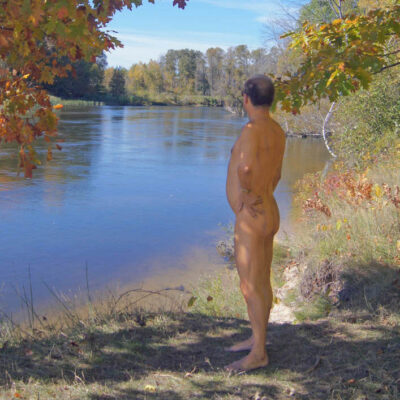 The writer skinny dipping.