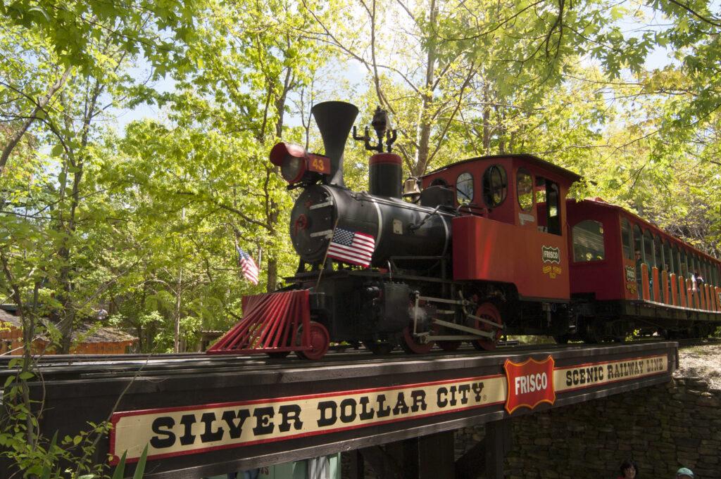 A steam train in Silver Dollar City.
