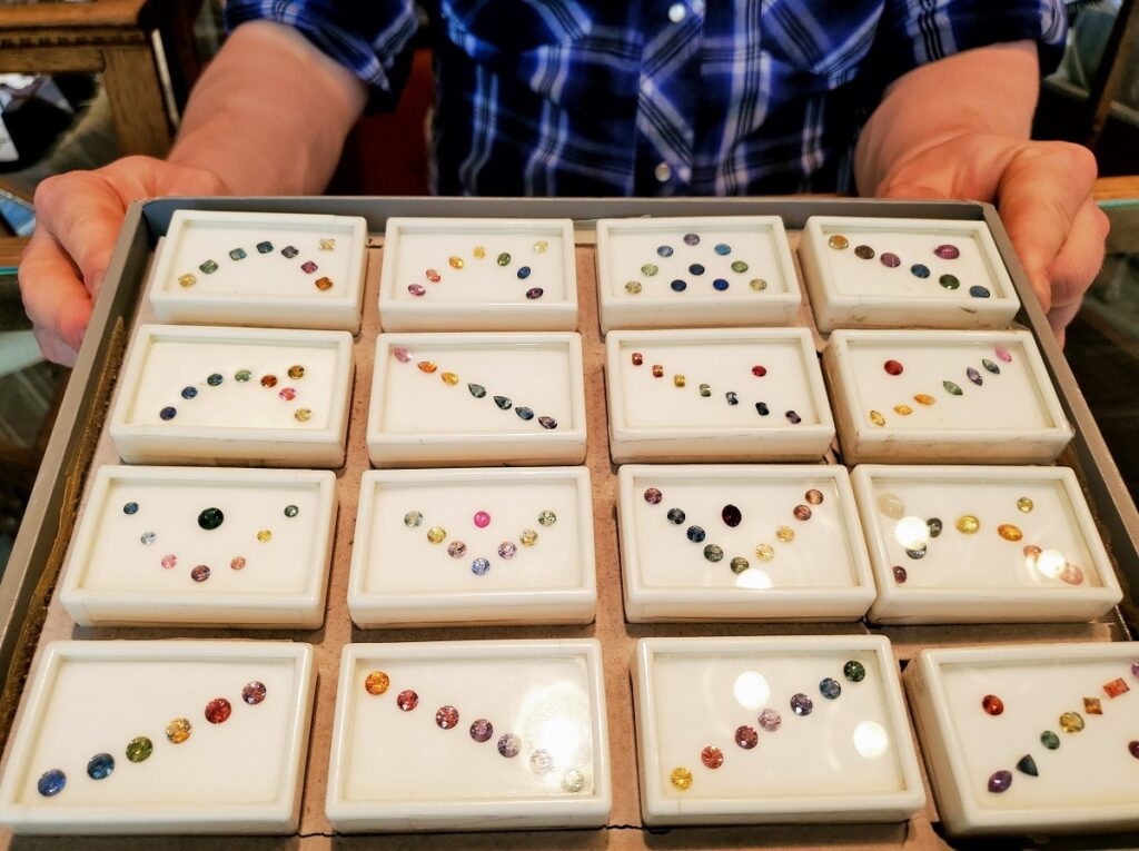 Locally-mined sapphires in a rainbow of colors.