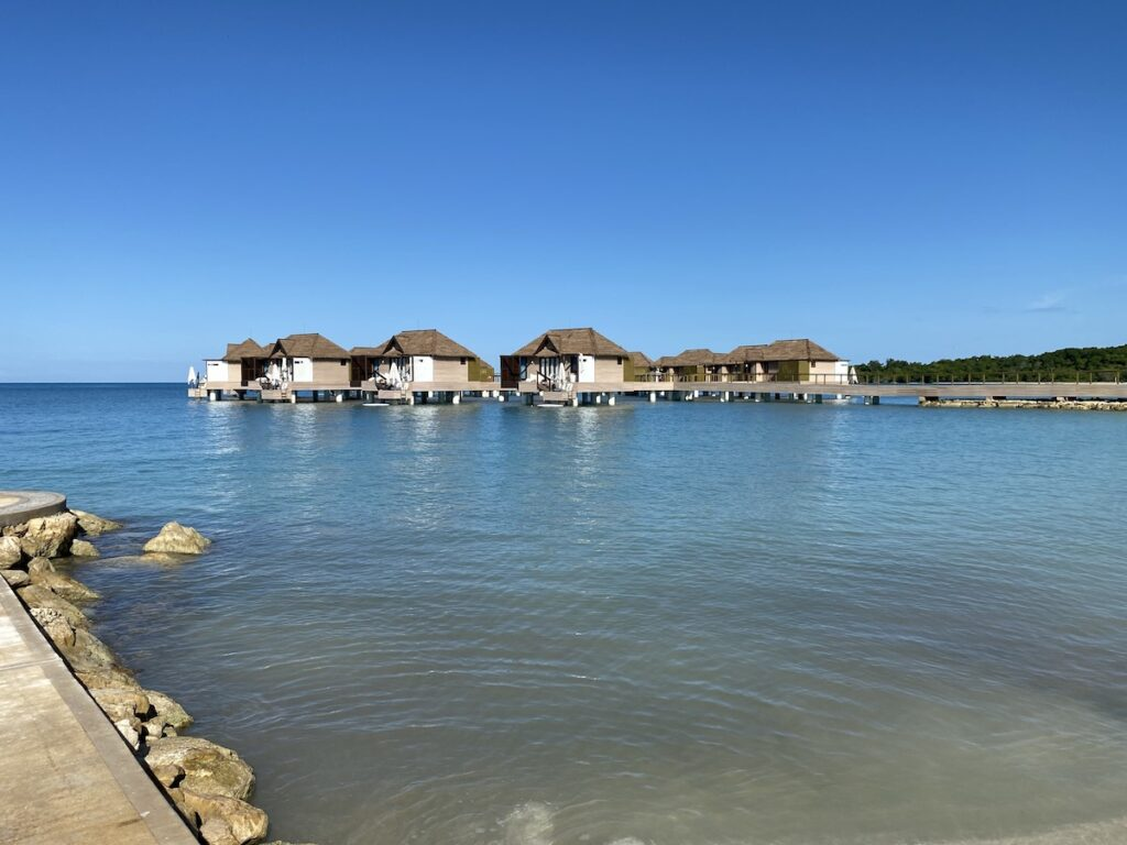 The Over the Water Bungalows at Sandals South Coast.