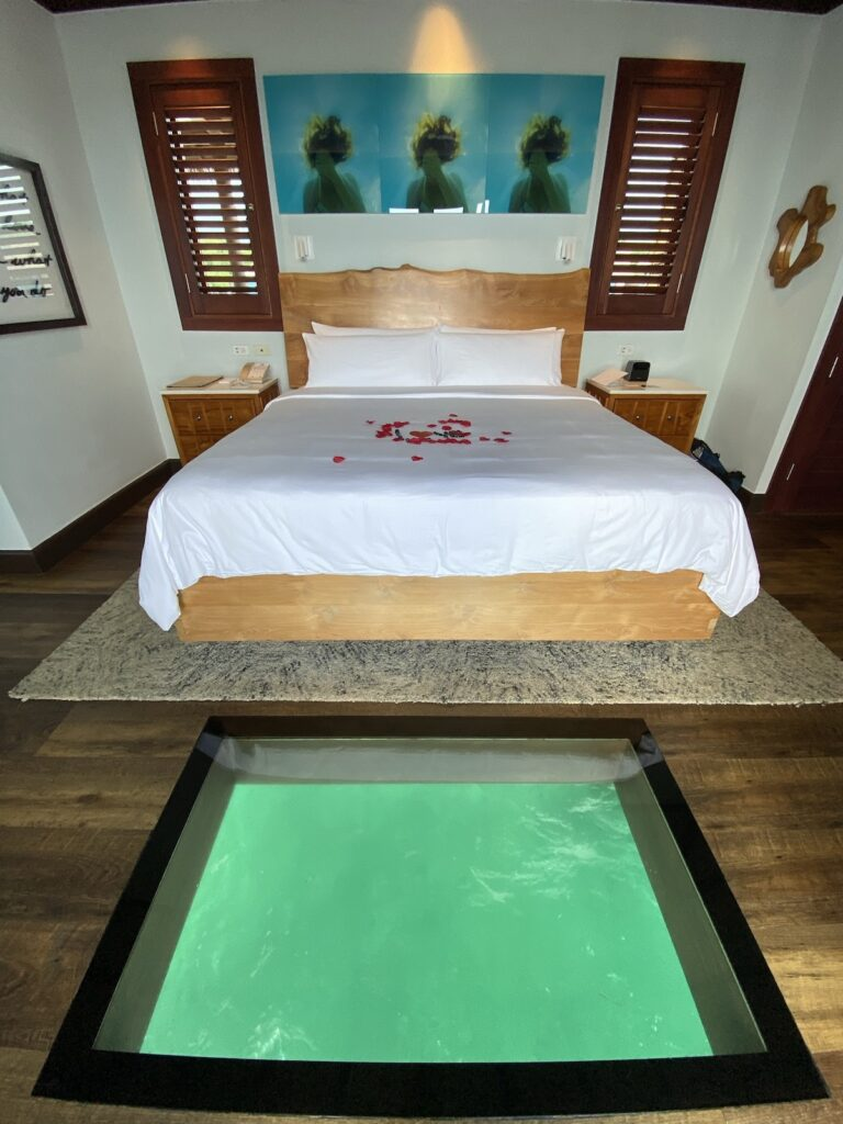 The glass floors in the room.