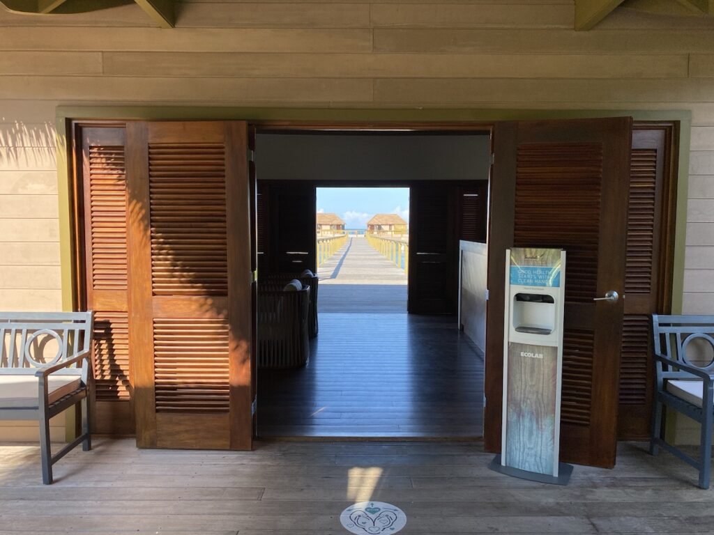 The private lounge for Over the Water Bungalow guests.