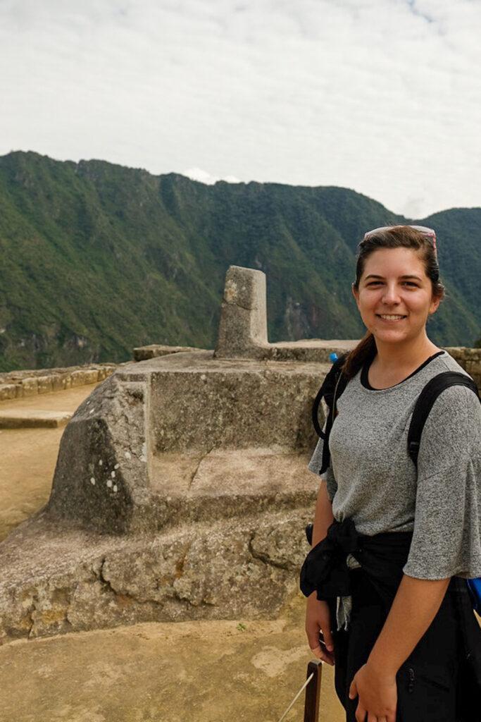 Intihuatana, stone solar clock in Machu Picchu.