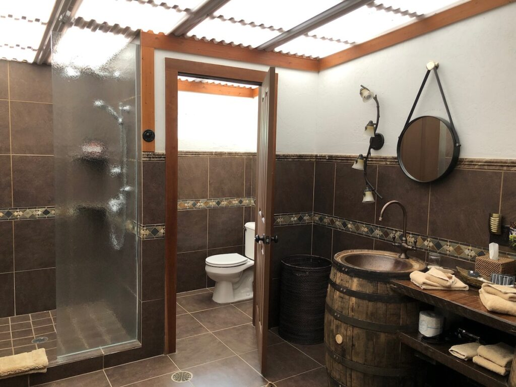 The bathrooms in the glamping tents, Paws Up.