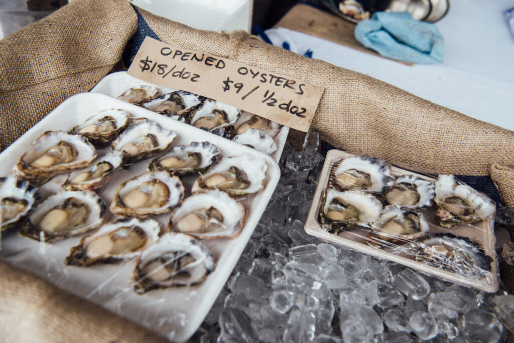 Fresh oysters at the market.