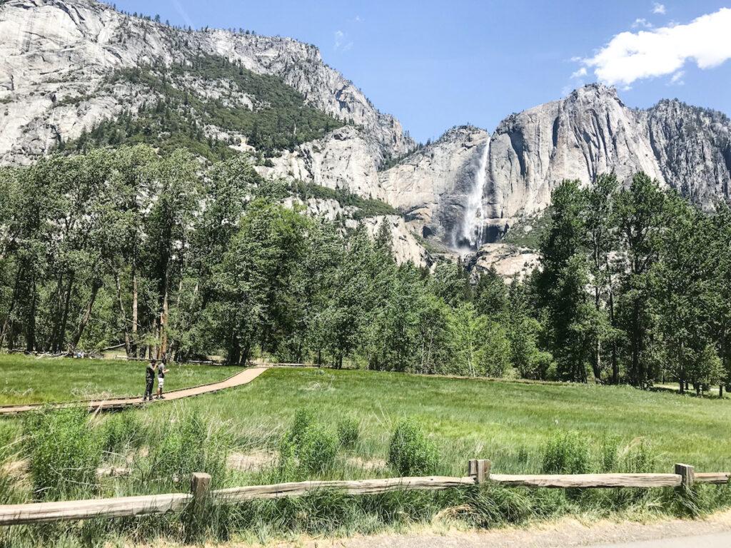 Trail, walkway and waterfall in Yosemite National Park.