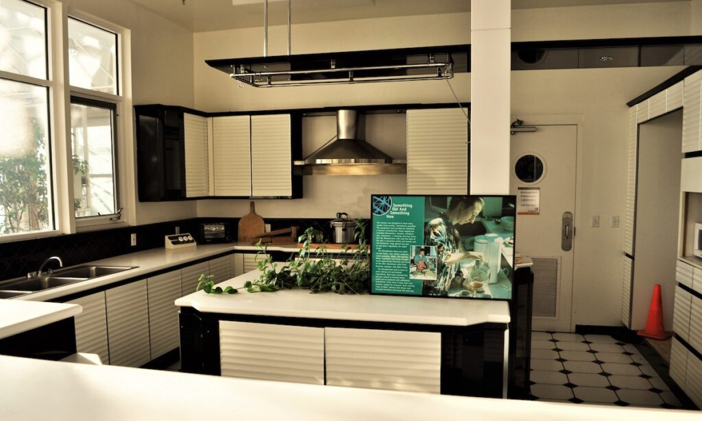 The kitchen in the Biospherians' apartments.