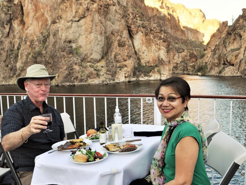 dinner on the Dolly Steamboat cruising on Canyon Lake, Arizona